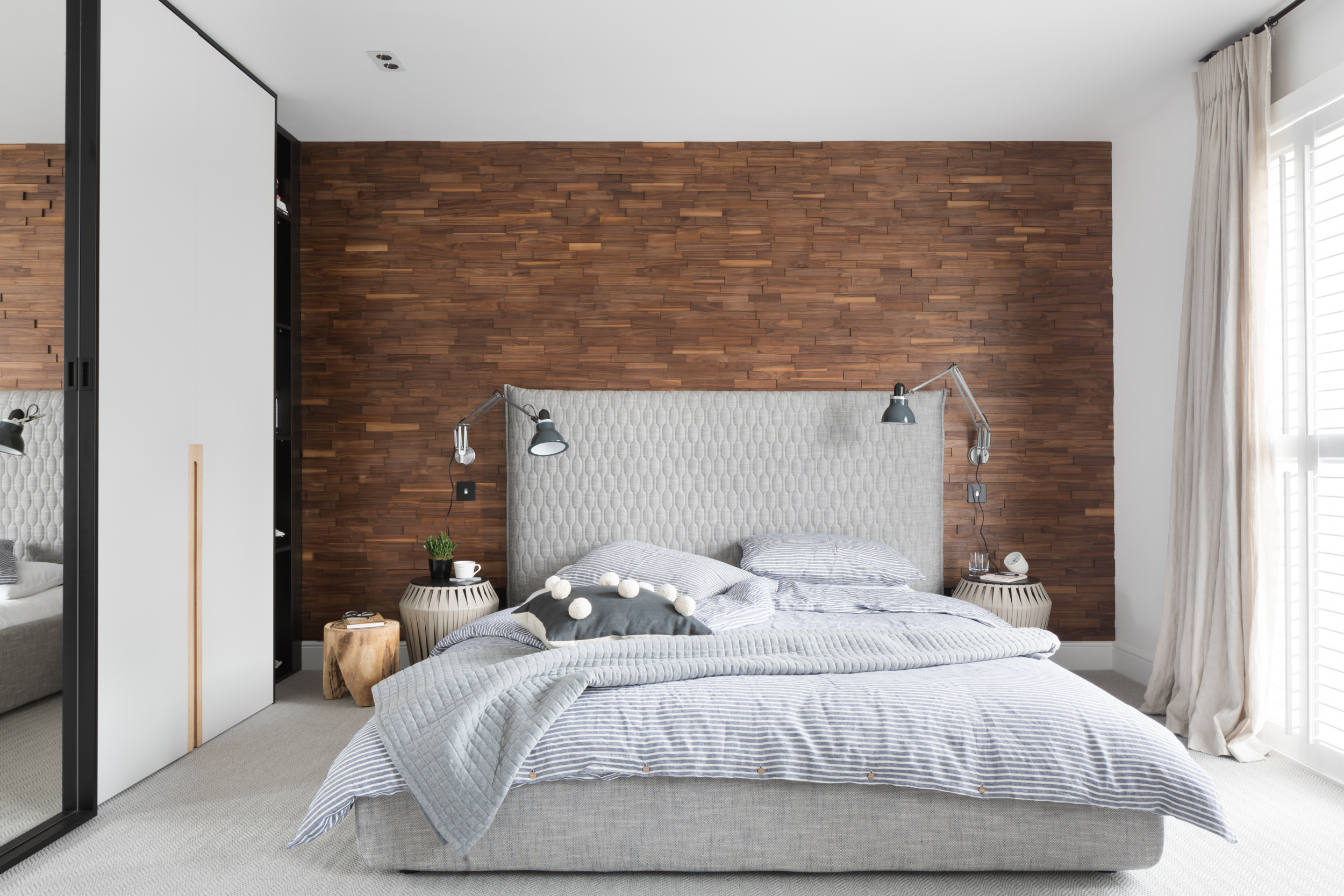 Paul Craig, Interior Photographer London, Residential Photography, Bedroom with wood wall