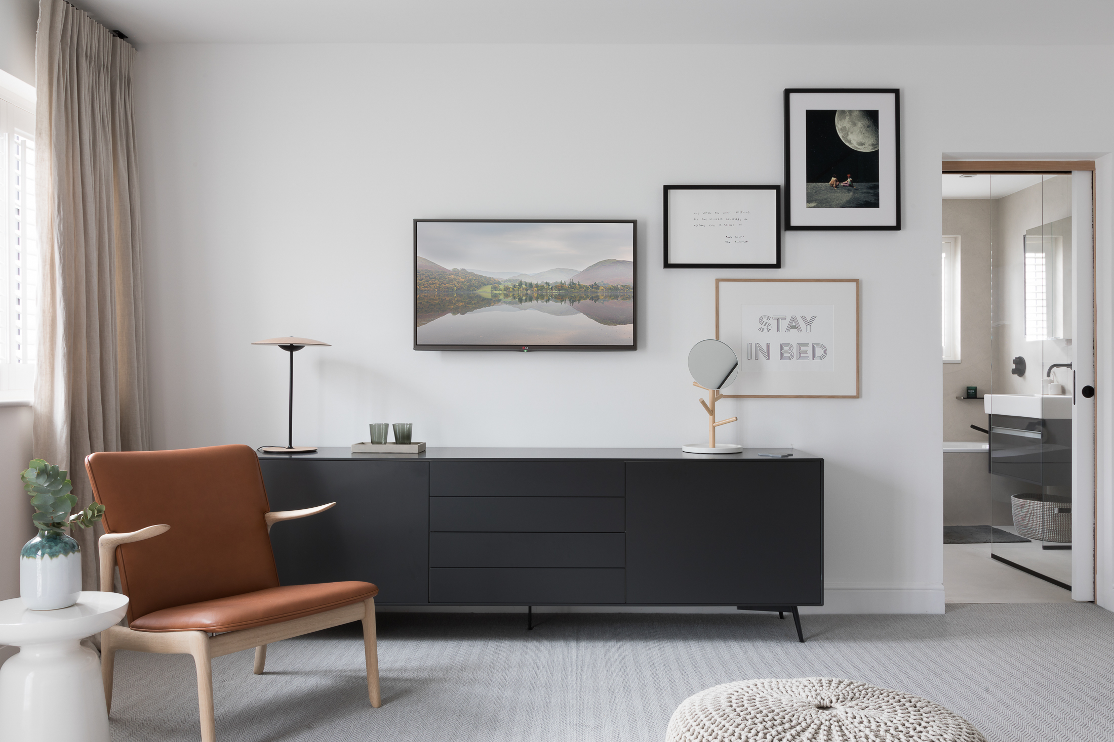 Paul Craig, Interior Photographer, Residential Photography, London, Bedroom, chair sideboard ensuite