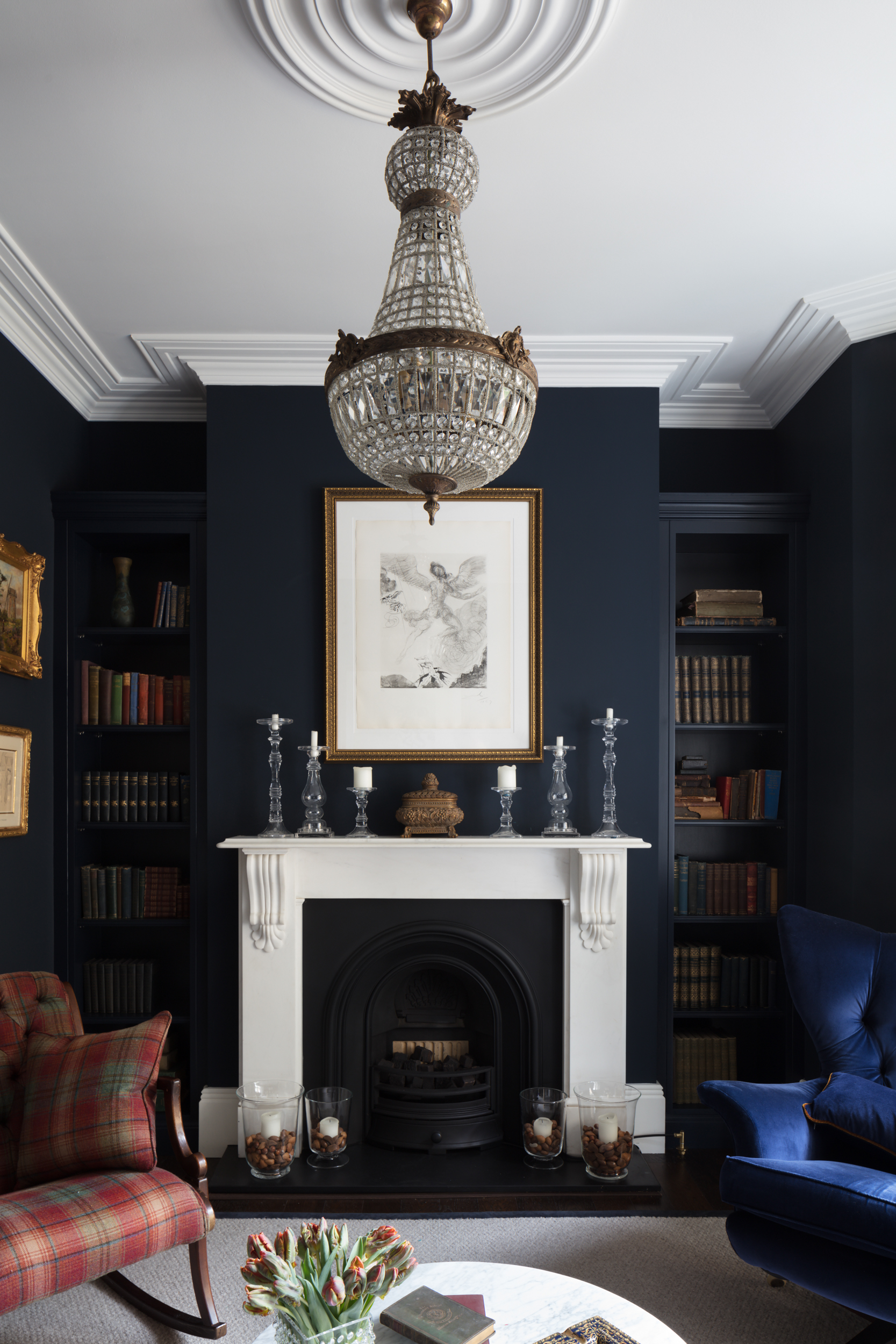 Paul Craig, Interior Photographer, Residential Photography, London, Living Room dark blue walls