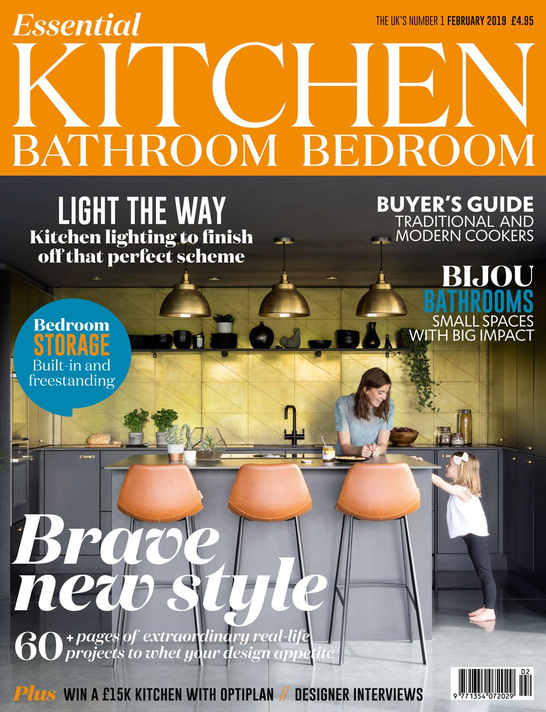 Essential Kitchen Bathroom Bedroom Magazine Cover February 2019 | Paul Craig Interior Photographer